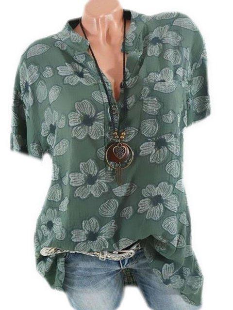 Plus Size Floral Cotton-Blend Women Summer Blouses