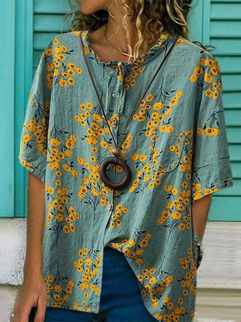 Casual Half Sleeve Buttoned Crew Neck Floral Printed Tops