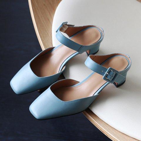 Date Square Toe Chunky Heel Slide Mule Sandals