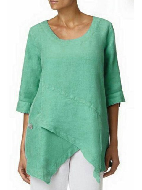 3/4 Sleeve Asymmetric Vintage Solid Blouse