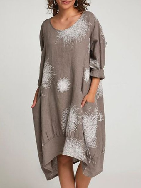 Plus Size Caftan Fireworks Print Pockets Cocoon Dresses