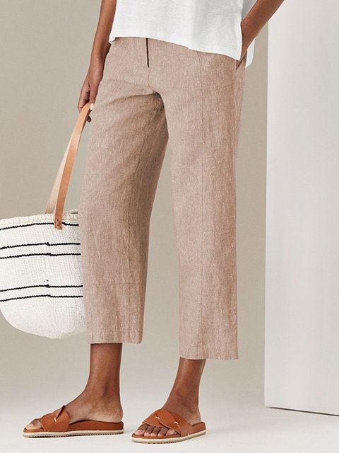 Solid Casual Pockets Cotton Pants