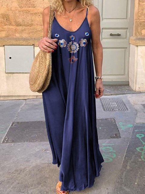 Crew Neck Women Dresses Daytime Cotton-Blend Dresses