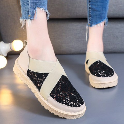 Women Crochet Lace Color Block Round Toe Loafers Sneakers Shoes