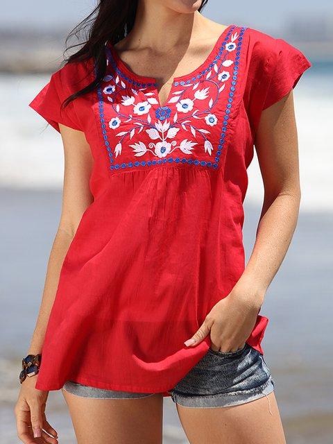 Women Embroidery Floral Cotton-blend Boho Short Sleeve Plus Size Blouses