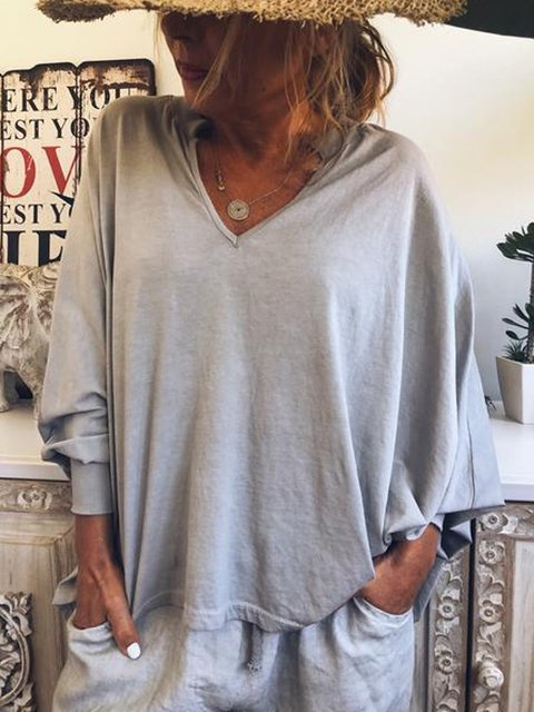 Light Gray Vintage V Neck Solid Cotton-Blend Shirts & Tops