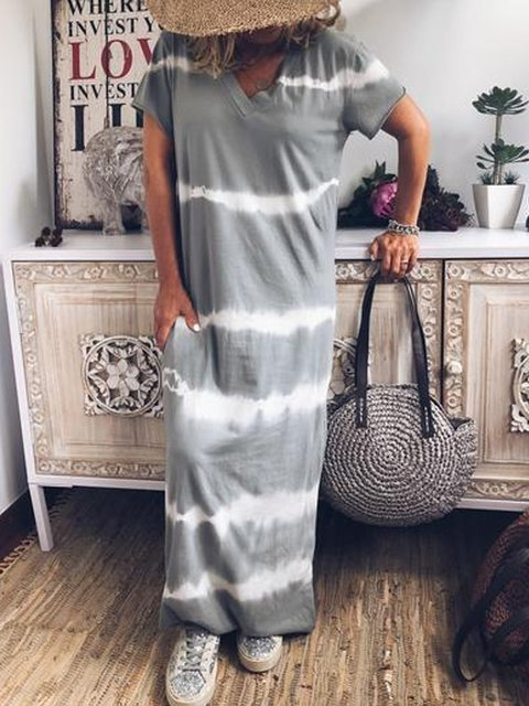 Light Gray Patchwork Vintage Dresses