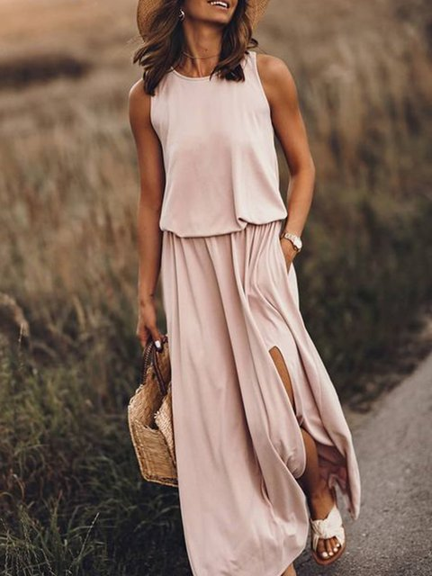 Pink Holiday Cotton-Blend Solid Round Neck Dresses