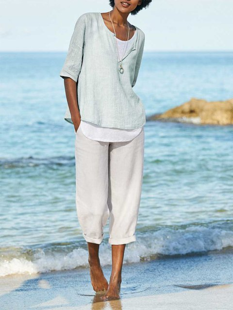 Summer Linen Casual Solid Pants