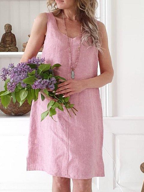 V Neck Women Summer Dresses Holiday Cotton Dresses