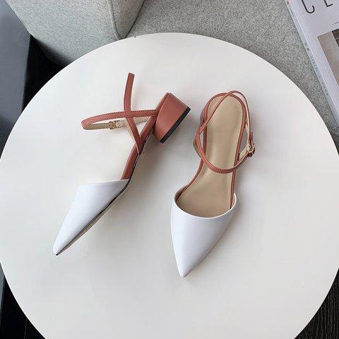 Genuine Leather Pointed Toe Block Heels Pumps