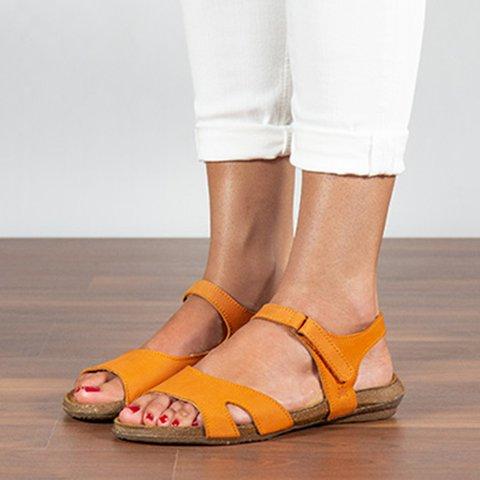 Women Comfy Flat Cross Strap Sandals Peep Toe Shoes