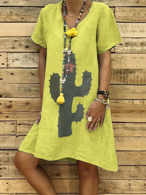 Plus Size V Neck Women Summer Kaftan Daily Casual Dresses