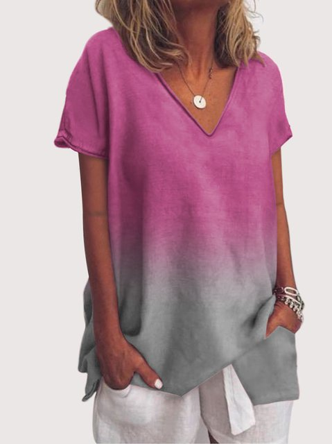 Plus Size Short Sleeve Casual V Neck Blouse