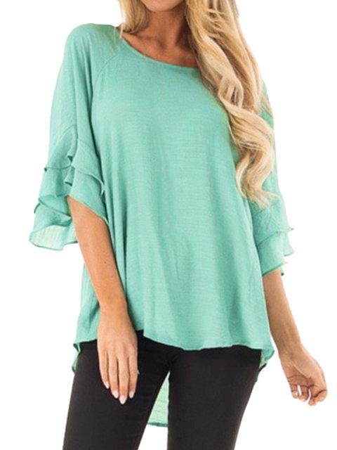 Paneled Short Sleeve Casual Chiffon Shirts & Tops