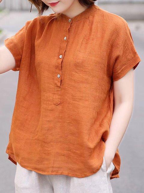 Women's Loose Casual Tops Cotton Linen Stand Collar T-Shirt