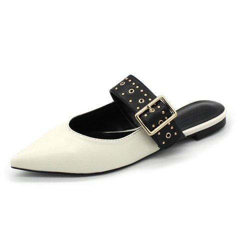 Date Pointed Toe Flat Heels Mule Slide Sandals