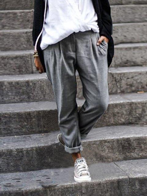 Women Solid Cotton-Blend Pants