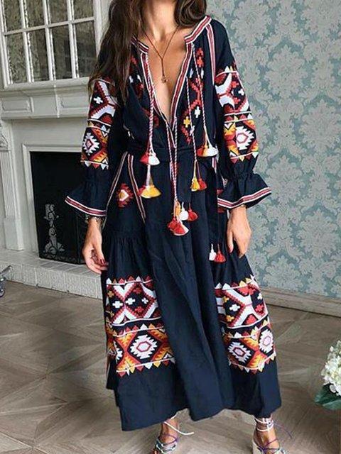 e48bc927e1 Justfashionnow Party Dresses Long Sleeve Sundress Holiday V Neck Boho  Embroidered Dresses