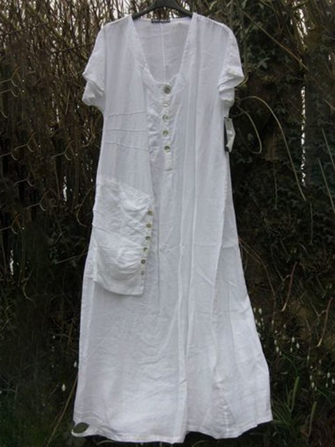 Plus Size Women Kaftan Pockets Buttoned Midi Dresses