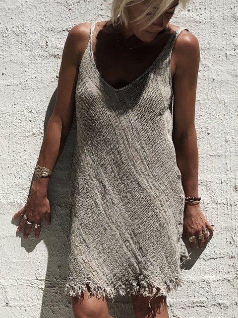 Plus Size V Neck Women Summer Caftans Shift Linen Dresses