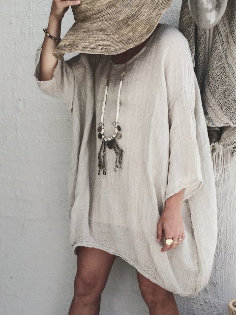 Round Neck Casual Solid Linen Blouses