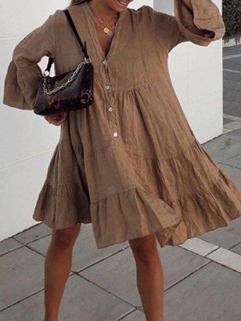 Solid Swing Bell Sleeve V Neck Dresses