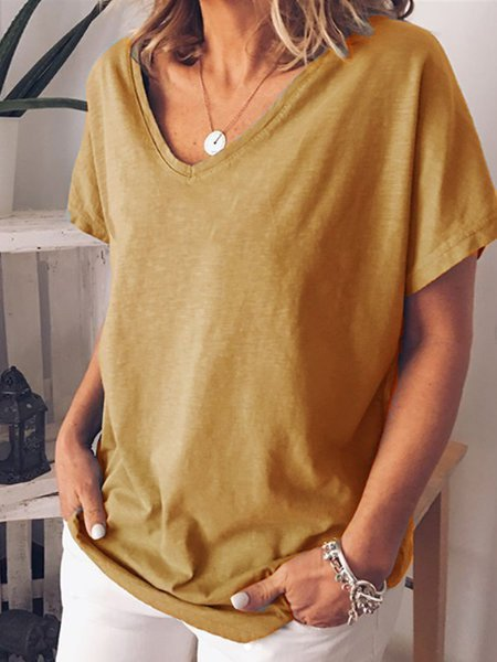 Solid Short Sleeve Casual Cotton-Blend Shirts & Tops