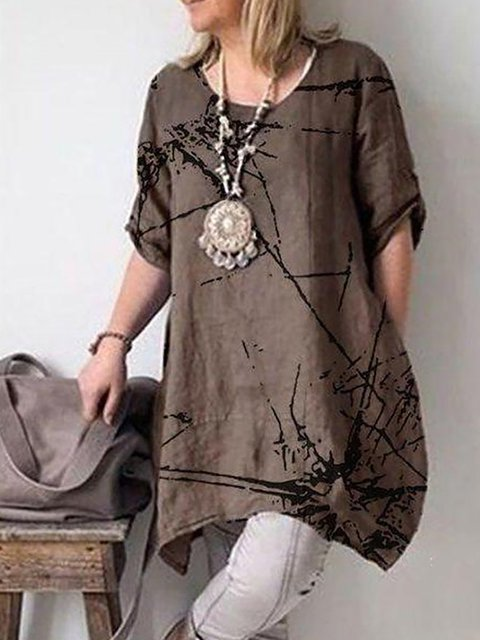 Plus Size Short Sleeve Abstract Linen Blouses