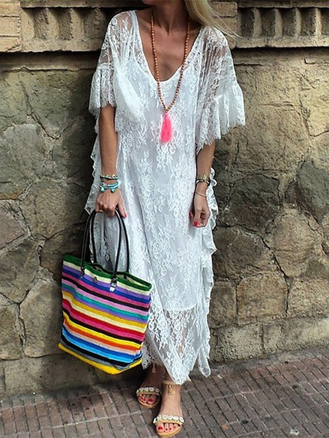 Plus Size Women Summer Caftans Shift Daily Solid Dresses