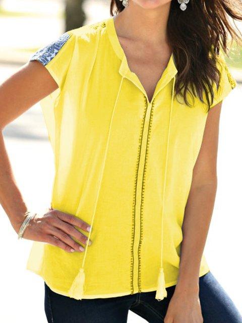Plus Size Casual Short Sleeve V Neck Blouses