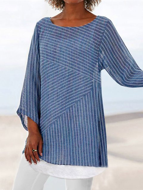 Cotton-Blend Striped 3/4 Sleeve Casual Shirts & Tops