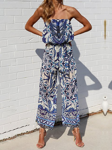 Casual Floral-Print One-Pieces