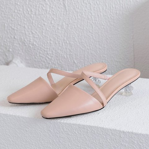 Genuine Leather Pointed Toe Curved Heels Mule Sandals