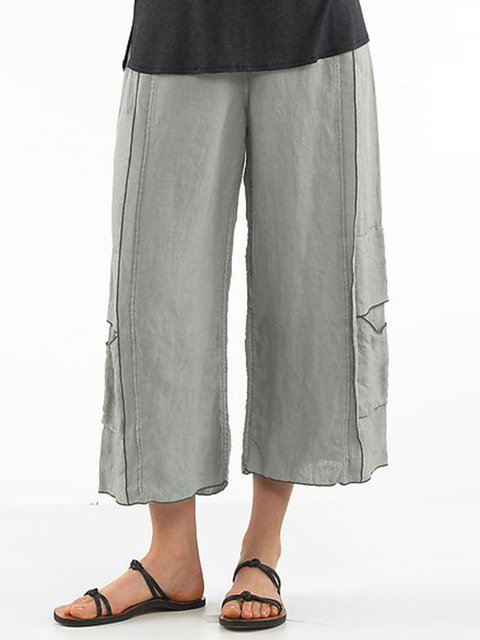 Casual Cotton Solid Paneled Pants