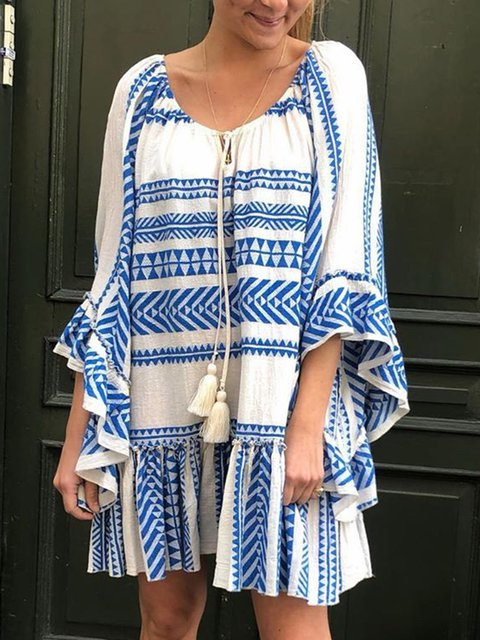 Plus Size Summer Caftan Frill Sleeves Fringed-tie Neck Tribal Dresses