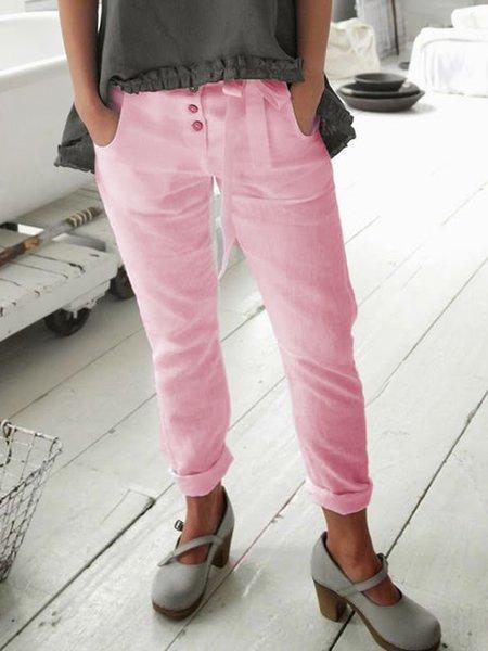 White Casual Plain Cotton Pants