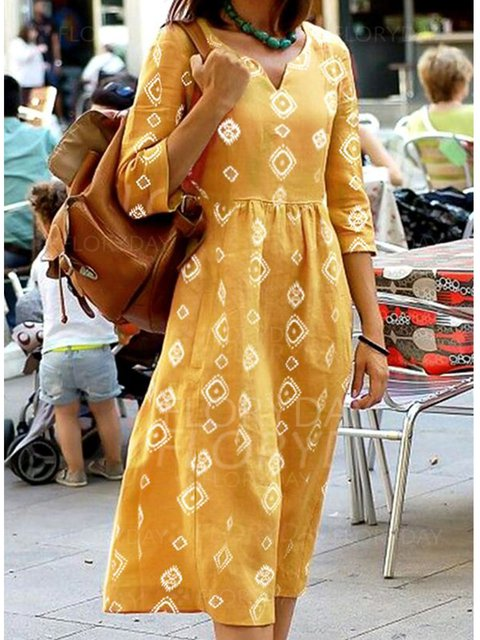 Half Sleeve V Neck Dresses