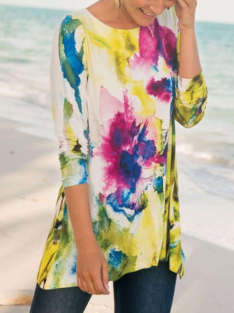 Plus Size Tie Dyed Impressive Women Long Blouses