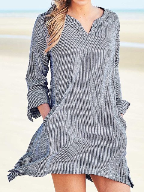4cbf532cd0fa Plus Size Striped Tunic Women V Neck Long Sleeve Tops ...