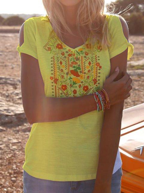 Floral-Embroidered Boho Floral V Neck Shirts