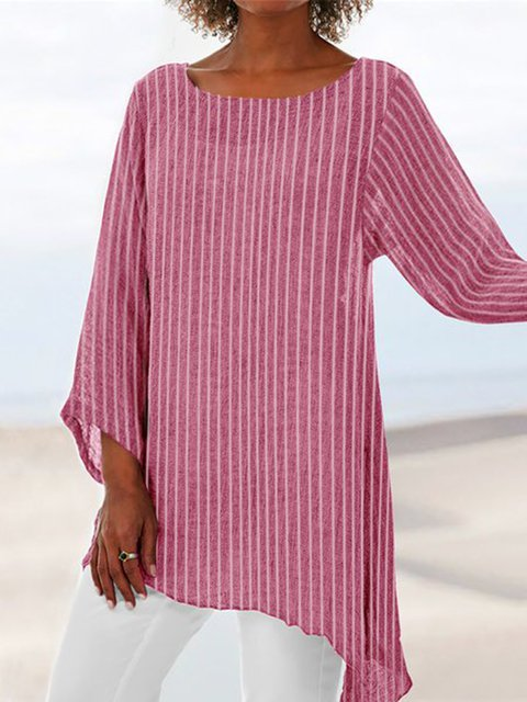 Plus Size  Striped Tunic Women Crew Neck Long Sleeve Casual Tops