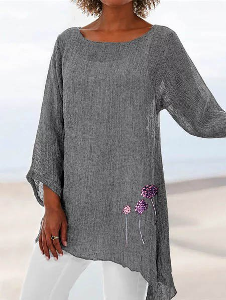 Floral Summer Beach Crew Neck Linen Long Sleeve Tops
