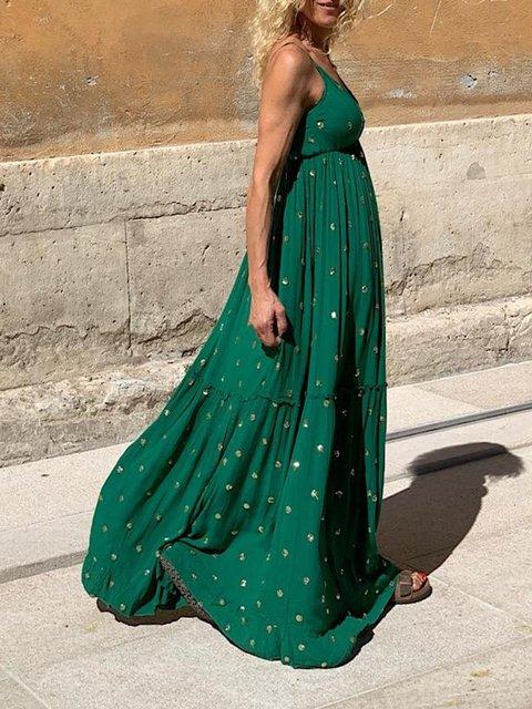 Green Sleeveless Floral V Neck Dresses