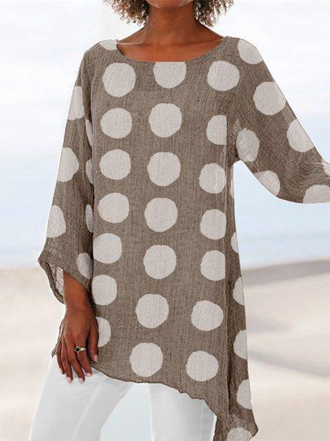 Polka Dots Casual 3/4 Sleeve Shirts & Tops
