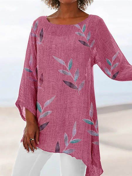 Leaf Crew Neck Beach Printed Cotton Long Sleeve Tops