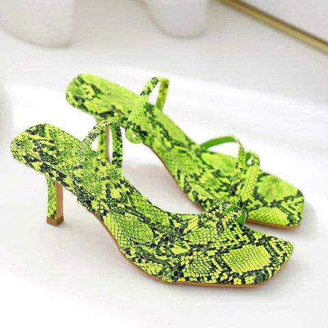 Date Chic Kitten Heel Slide Snakeskin Sandals