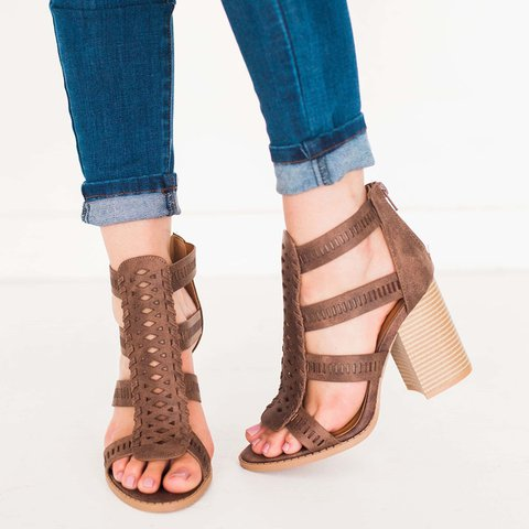 Women Chic Chunky Heel Zip Sandals
