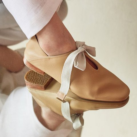 Womens Bowknot PU Slip on Low Heel Casual Summer Flat Heel shoes