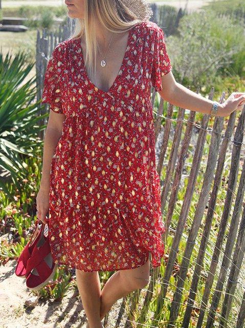 Short Sleeve Floral Casual Cotton-Blend Dresses